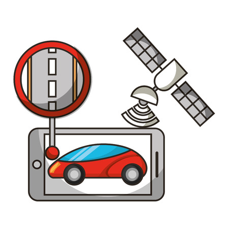 mobile satellite location autonomous car vector illustration