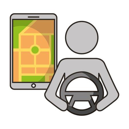 driver mobile map navigation gps autonomous car vector illustration