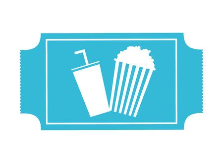 blue cinema ticket popcorn soda movie vector illustration