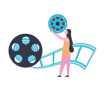 woman reel strip production movie film vector illustration