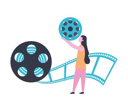 woman reel strip production movie film vector illustration