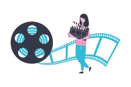 femme, clap, bobine, bande, production, film, film, vecteur, illustration