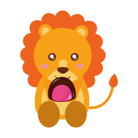 cute lion with sweet candy chocolate vector illustration