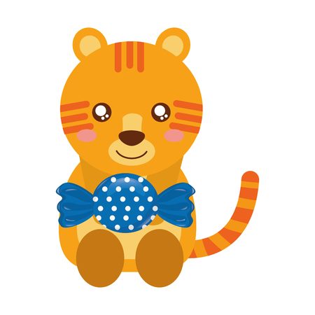 cute tiger with sweet candy wrapper vector illustration