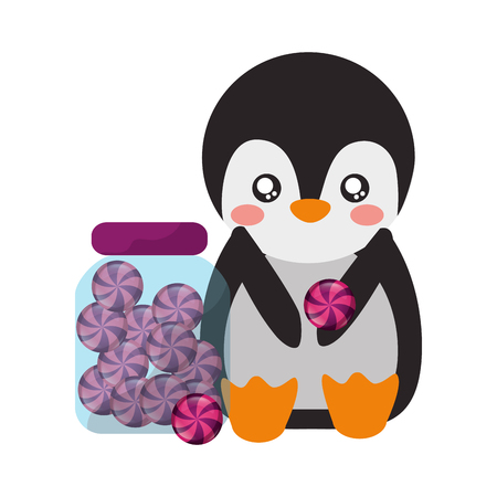 cute penguin and jar sweet candy vector illustration