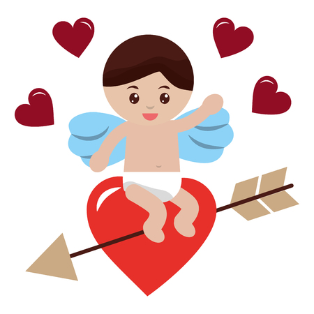 cute cupid sitting in love heart arrow valentine vector illustration