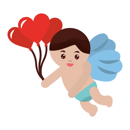 cute cupid with balloons heart celebration valentine vector illustration