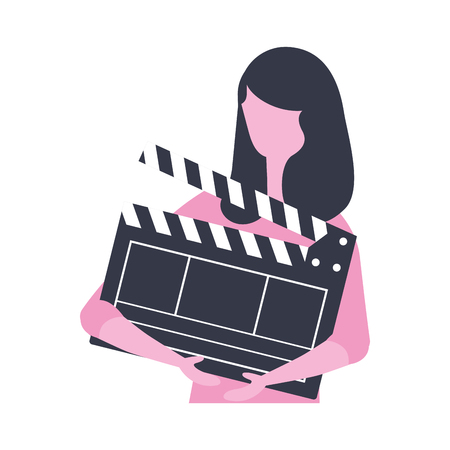 woman holding clapperboard production movie vector illustration