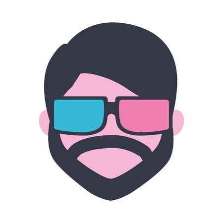 beard man using 3d glasses movie film vector illustration