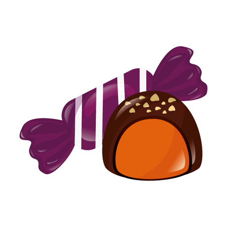 sweet chocolate stuffed bonbon candy vector illustration