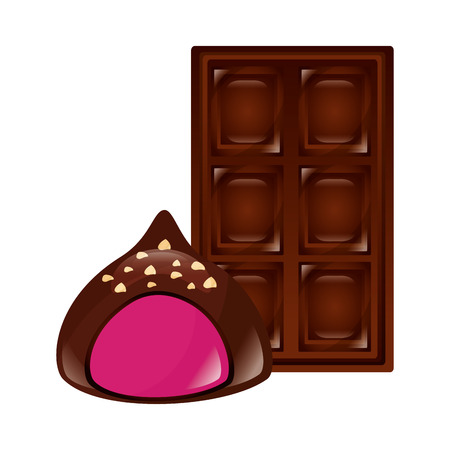 sweet candies chocolate bar and stuffed chip vector illustration Banque d'images - 109686379