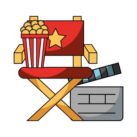 director chair popcorn and clapboard cinema movie vector illustration