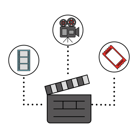 clapboard camera and ticket cinema movie vector illustration