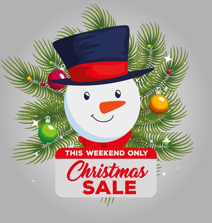 christmas sale label with snowman vector illustration design