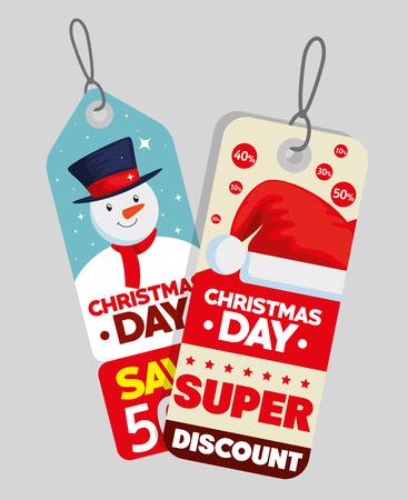 christmas sale decorative tags vector illustration design Archivio Fotografico - 109746232