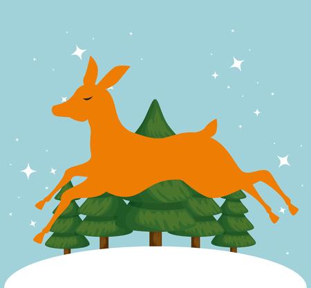 cute reindeer in snowly landscape vector illustration design Standard-Bild - 109721987