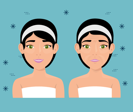 woman before and after skin treatment vector illustration design Foto de archivo - 109746233
