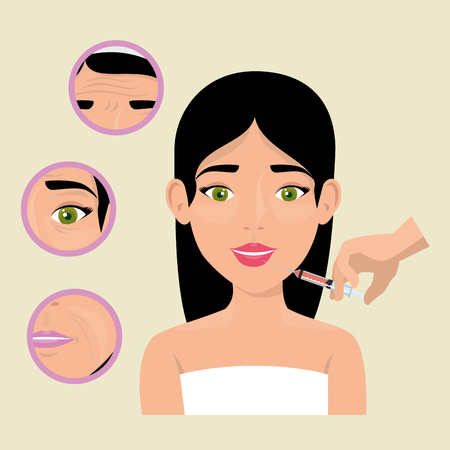 woman with face treatment vector illustration design