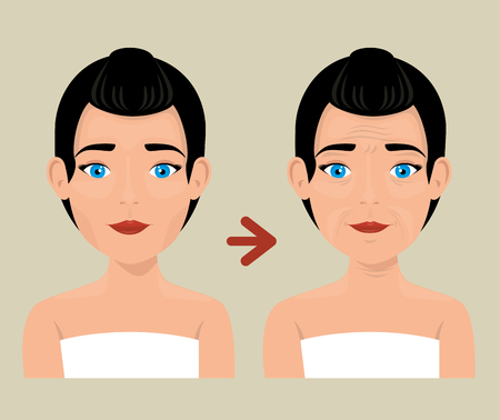 woman before and after skin treatment vector illustration design Stok Fotoğraf - 109746243
