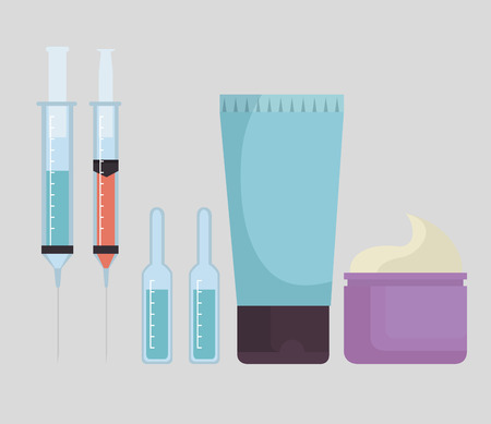 set of facial products and injections vector illustration design Ilustração