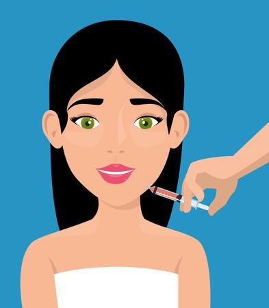 Mujer con tratamiento facial, diseño de ilustraciones vectoriales