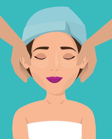schöne Frau in Behandlung Gesichtsvektor Illustration Design