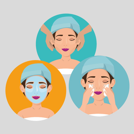 group of beautiful women in treatment facial vector illustration design  イラスト・ベクター素材