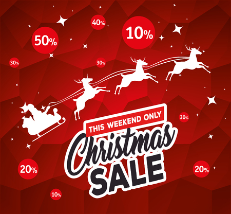 christmas sale label with santa claus carriage vector illustration design Illustration