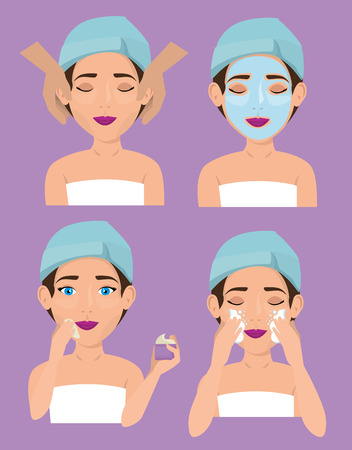 group of beautiful women in treatment facial vector illustration design Çizim