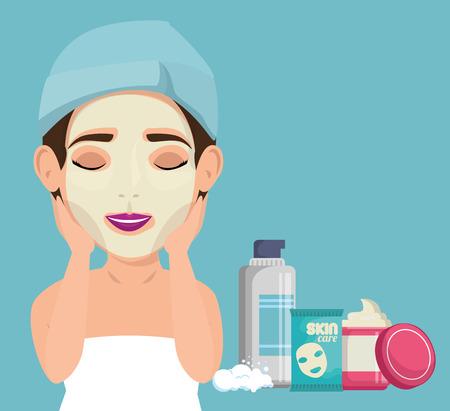 beautiful woman in treatment facial vector illustration design