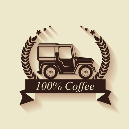 warranty seal original coffee with car vector illustration design Reklamní fotografie - 109753783
