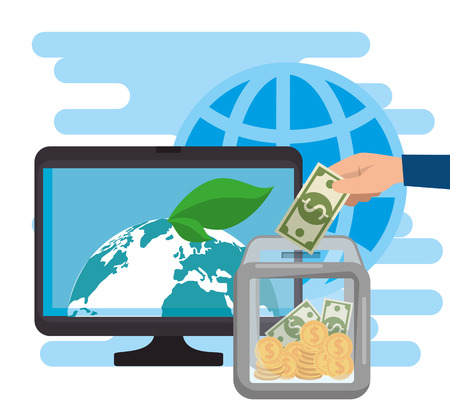 computer with charity donation online vector illustration design