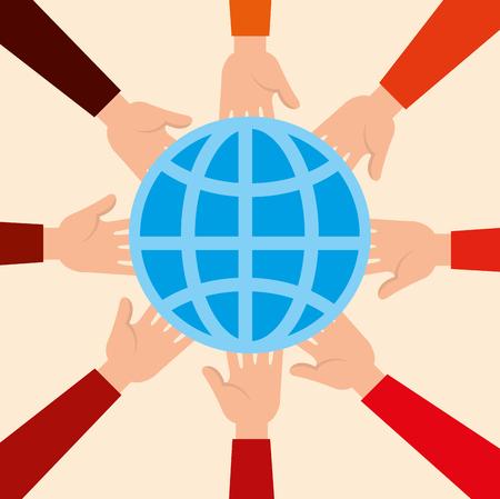 Donación de caridad con esfera planeta diseño ilustración vectorial