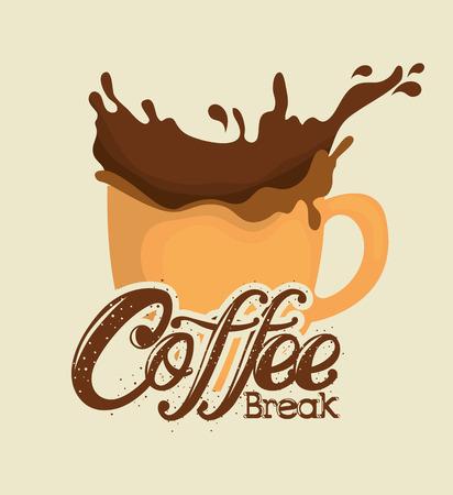 delicious coffee break label vector illustration design