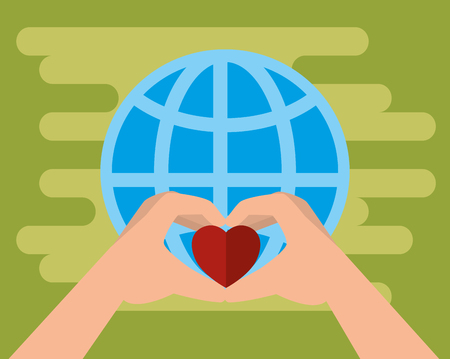 hands with hearts charity donation vector illustration design Illustration