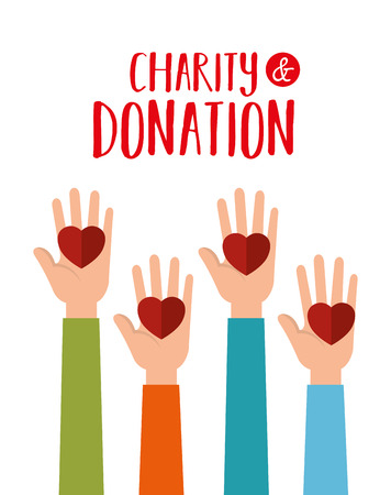 hands with hearts charity donation vector illustration design  イラスト・ベクター素材