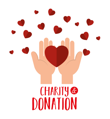 mains avec des coeurs don de charité conception d'illustration vectorielle