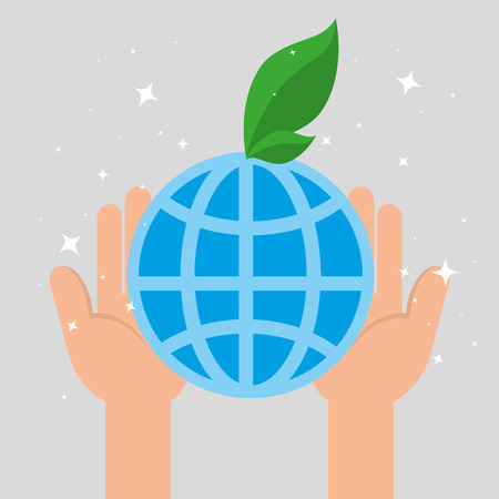charity donation with sphere planet vector illustration design