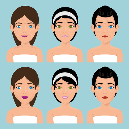 group of beautiful women in treatment facial vector illustration design 일러스트