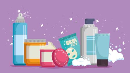 set of facial creams products vector illustration design