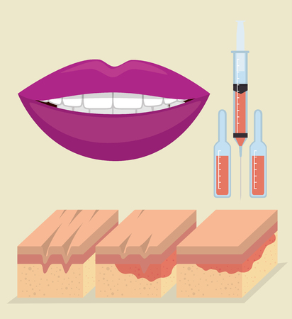 layers of skin with facial injection vector illustration design 向量圖像