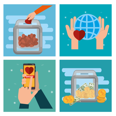 charity donation set icons vector illustration design