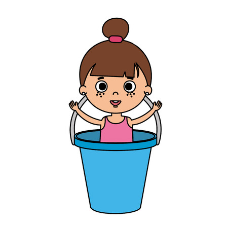 beautiful little girl in plastic bucket vector illustration design Standard-Bild - 109739316