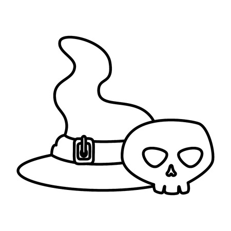skull with witch hat halloween vector illustration design