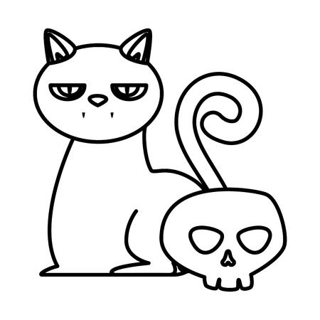 halloween black cat with skull vector illustration design Ilustrace