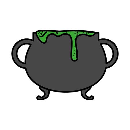 happy halloween cauldron icon vector illustration design