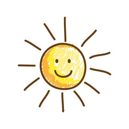 comic sun with sun drawing vector illustration design Illustration