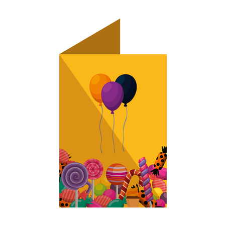 card with sweet candies set and balloons helium vector illustration design