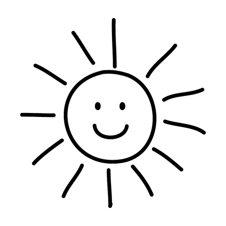 comic sun with sun drawing vector illustration design Stock Illustratie