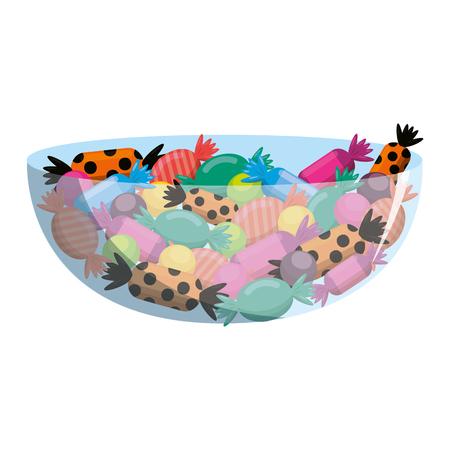 Caramelos dulces en tazón de fuente, diseño de ilustraciones vectoriales